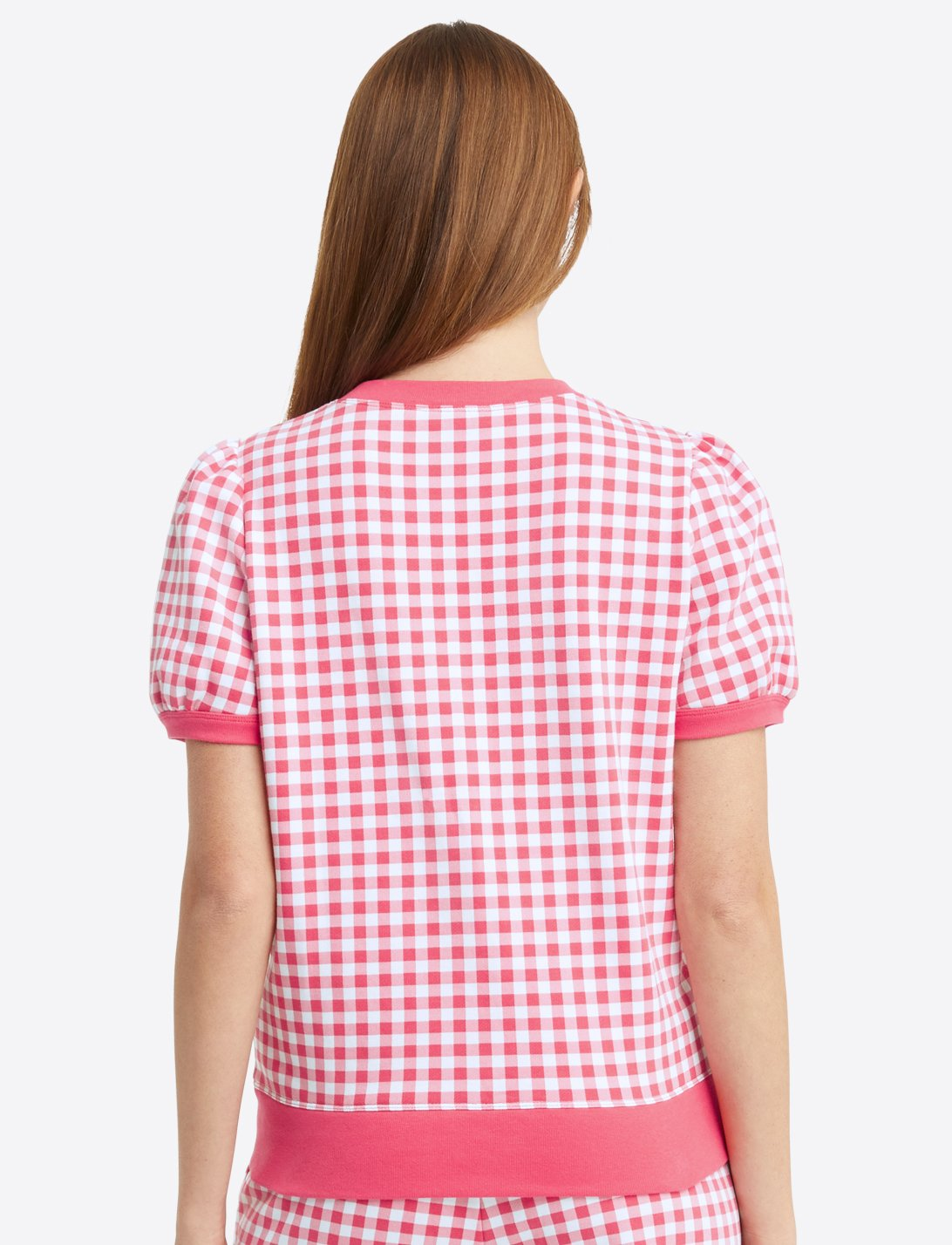 Short Sleeve Gingham Sweatshirt