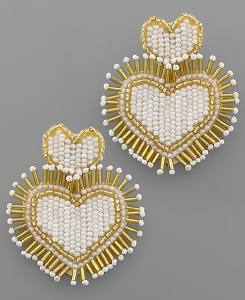 Double Bead Heart Earrings