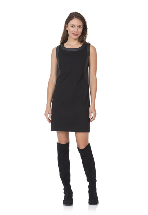 Ponte Dress with Leather Accent