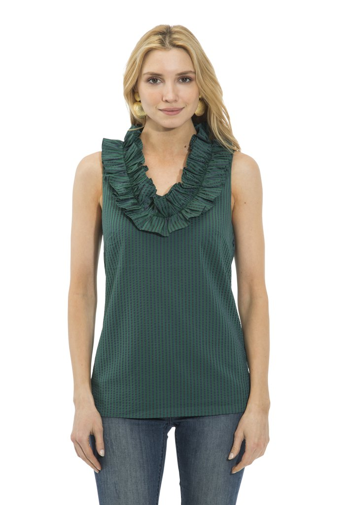 Ruffle Neck Sleeveless Top