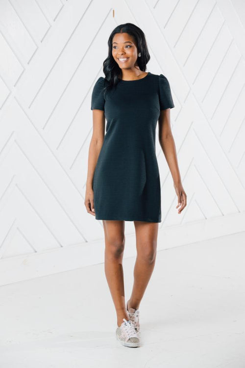 Textured Short Puff Sleeve Dress