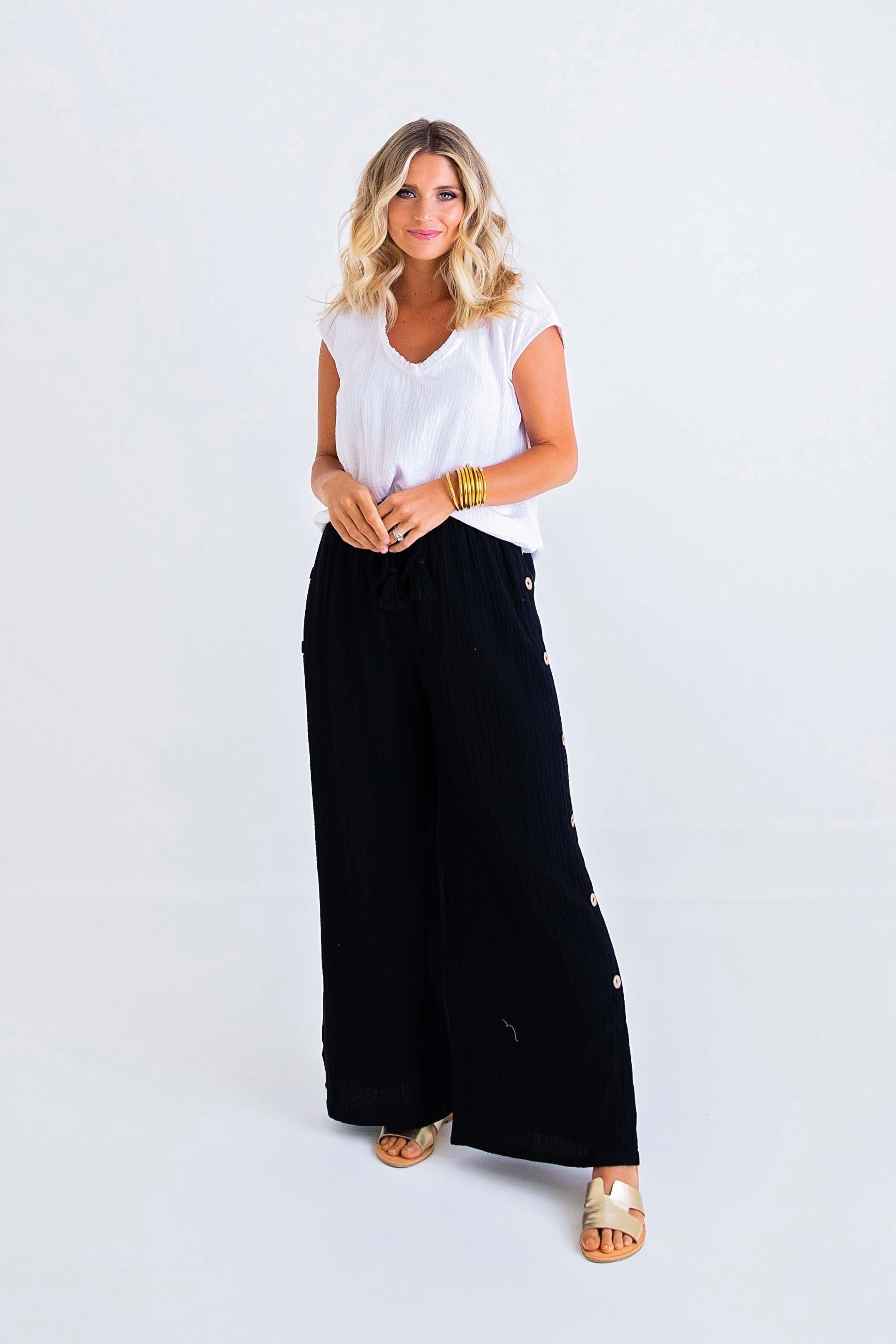Gauze Pants with Button Detail