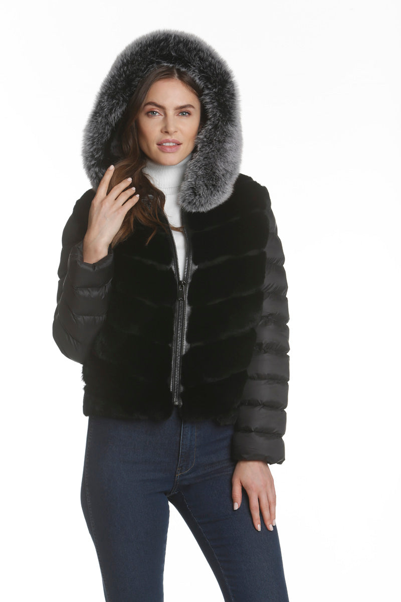 Puffer Fur Jacket with Leather Details