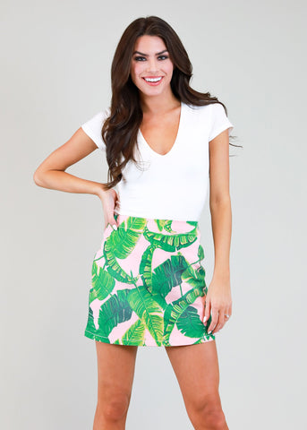 Animal Abstract Smocked Skort