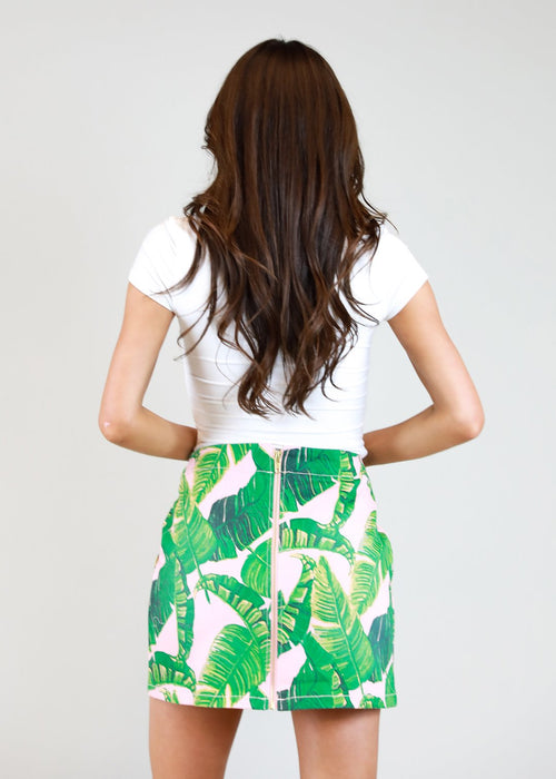 Banana Leaf Denim Skirt