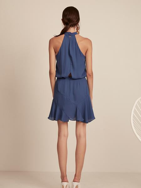 Asymmetrical Flare Halter Mini Dress