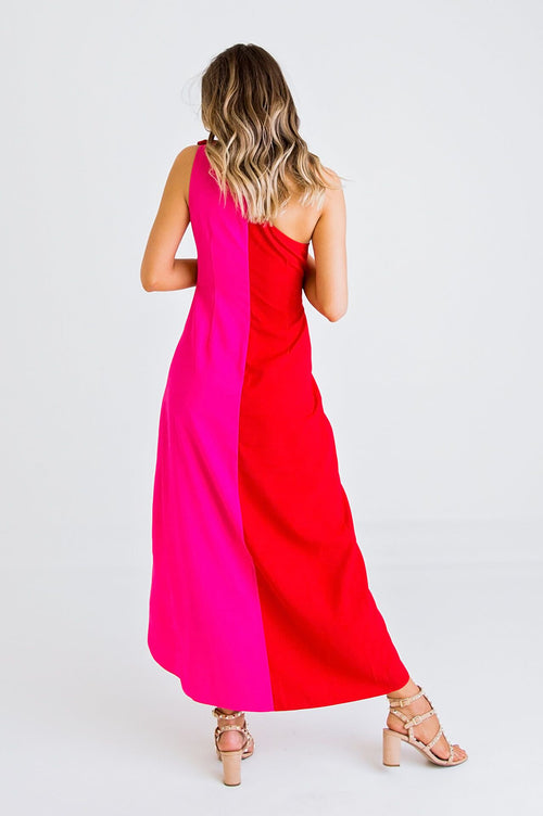 Colorblock One Shoulder Dress