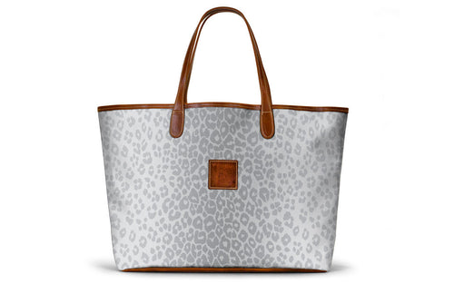 St. Anne Tote in Silver Animal Print