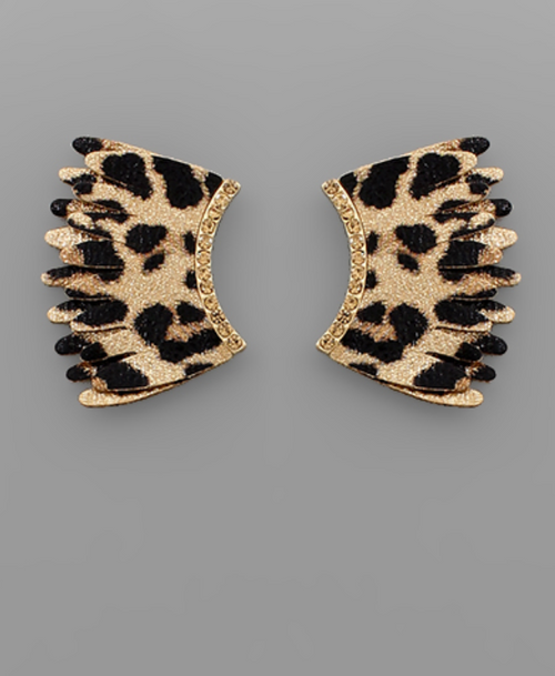 Leopard Fan Earrings