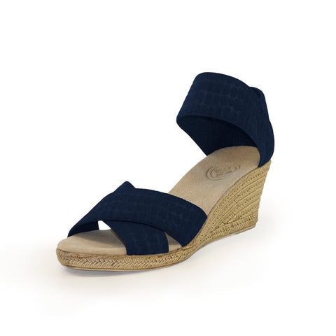 Cannon Wedge Sandal - Textured Navy