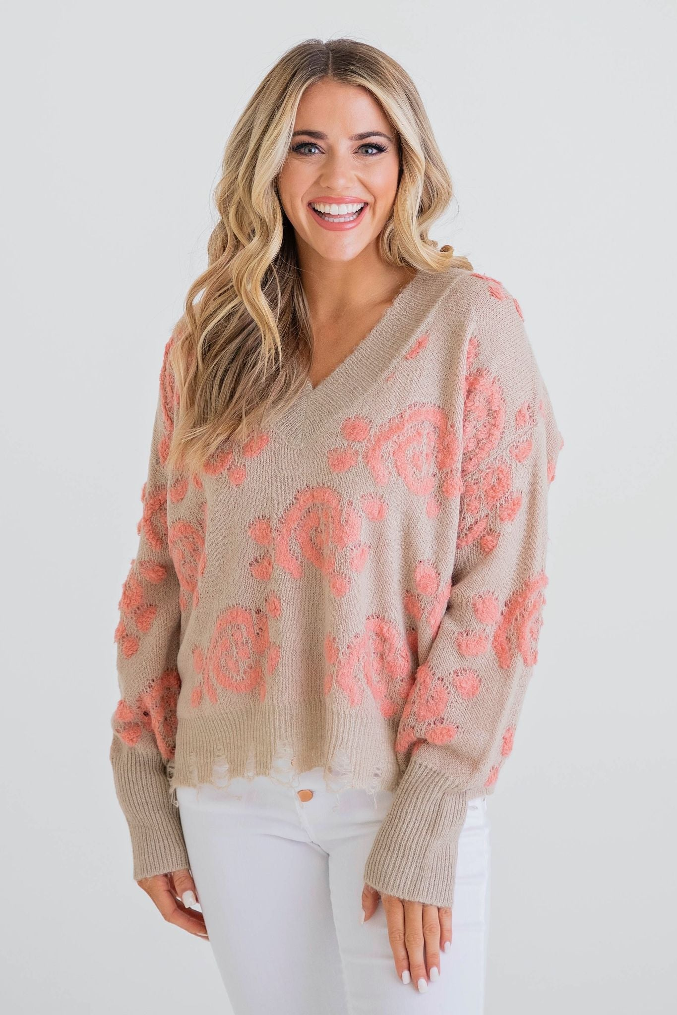 Peach Florals V-Neck Sweater