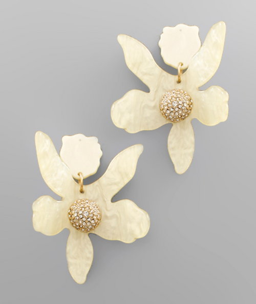 Pave Acrylic Blossom Earrings