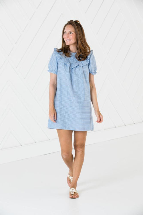 Smocked Neck Short Sleeve Dress