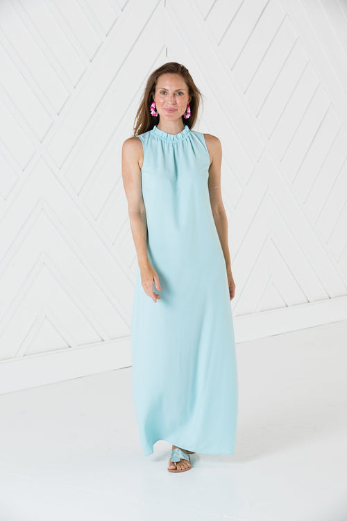 Ruffle Neck Maxi Dress