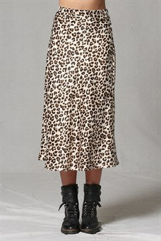 Leopard Butter Satin Skirt
