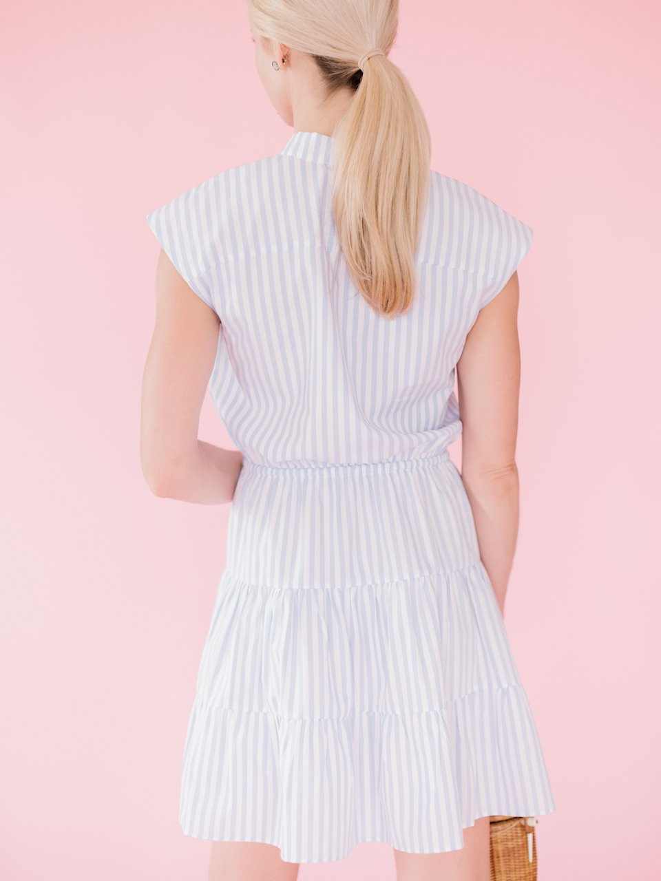 Chelsea Flounce Dress - Candy Blue Stripe
