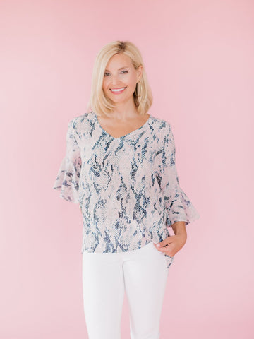 Abstract Flutter Sleeve Top