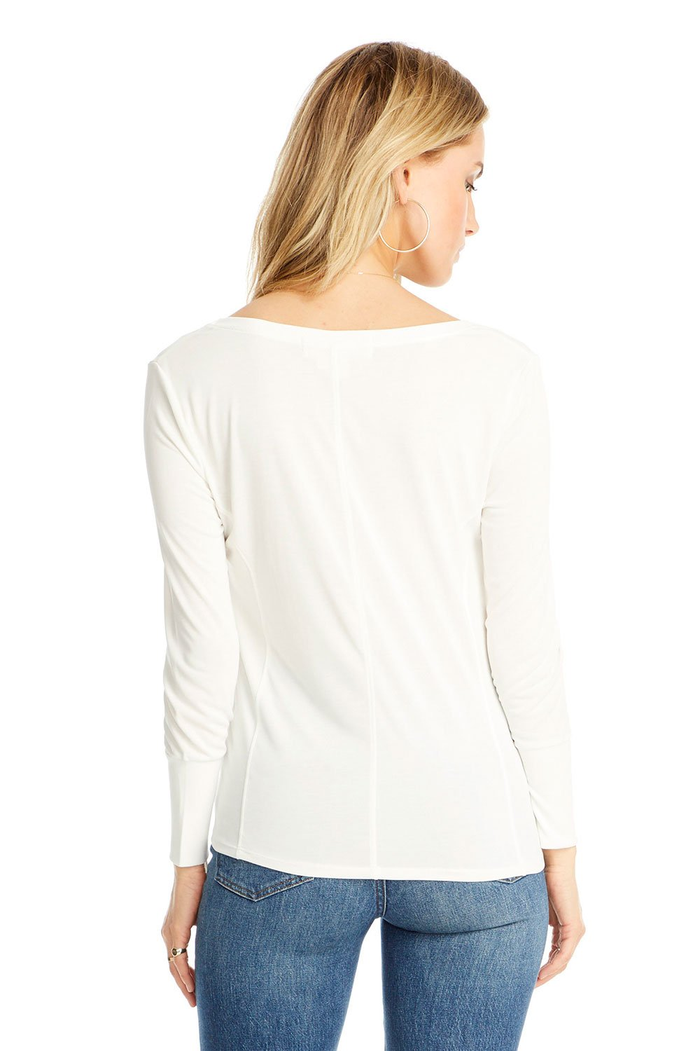 V-Neck Long Sleeve Seamed Tee