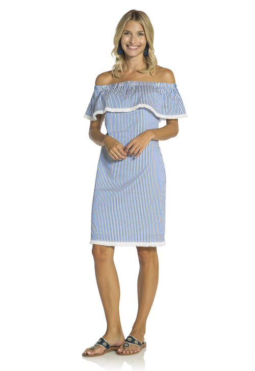 Shirting Striped Off Shoulder Shift Dress