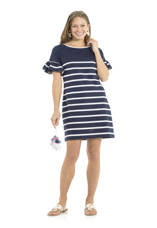 Navy Stripe Ruffle Sleeve Dress
