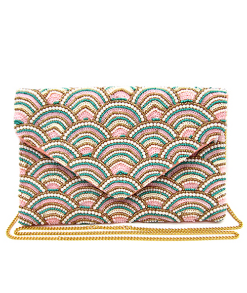 Scalloped Deco Beaded Clutch