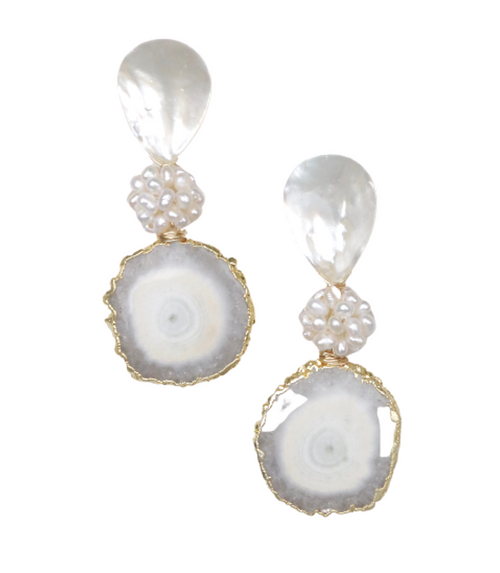 Geode Pearl Earrings