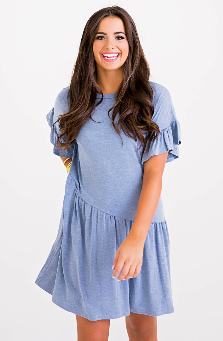 Asymmetrical Ruffle Knit Dress