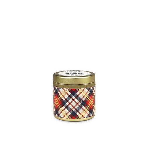 Holly Leaves & Cranberry Tartan Candle