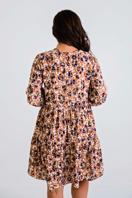 Abstract Leopard Tier Dress