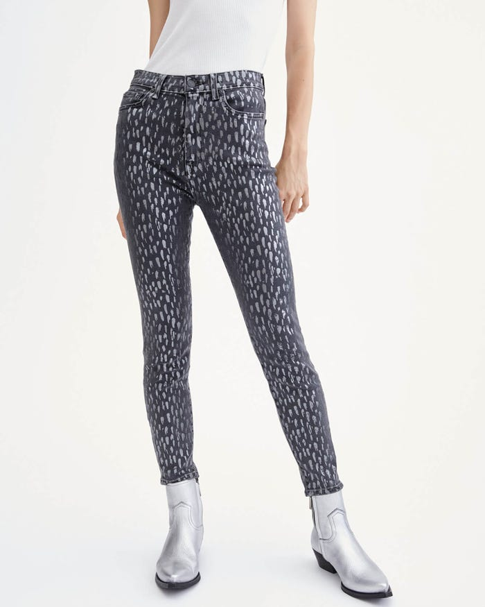 High Waist Skinny in Foil Snow Leopard