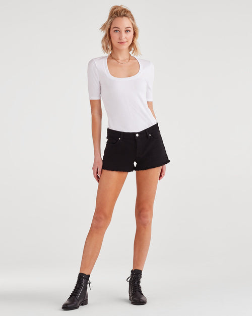 Black High Waist Cut Off Shorts