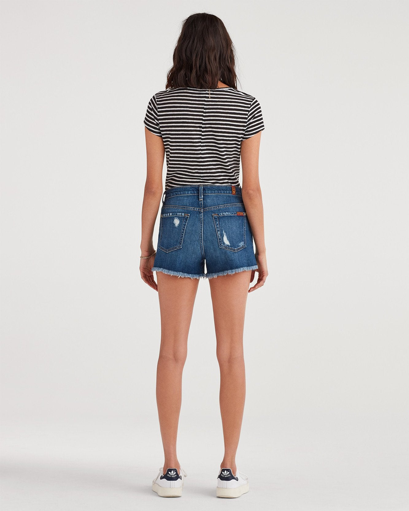 High Waist Short with Frayed Hem