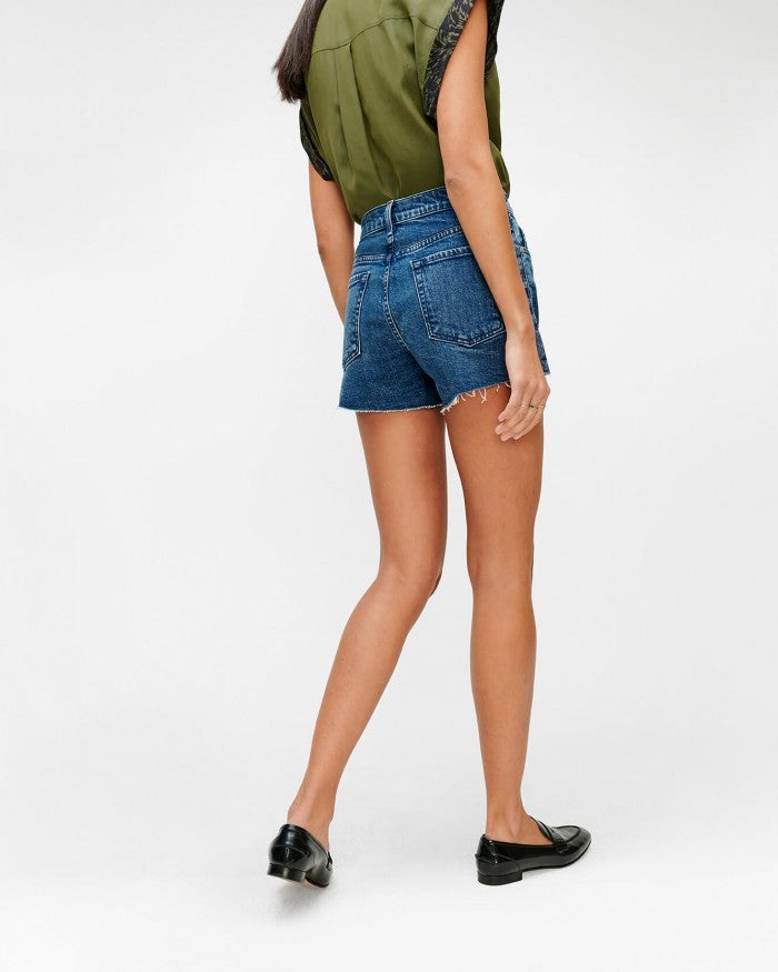 High Waist Short with Fray Hem