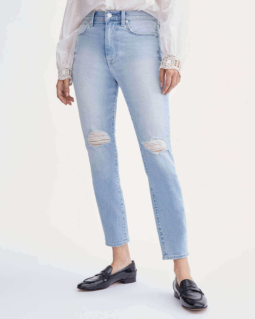High Waist Ankle Skinny with Knee Slits