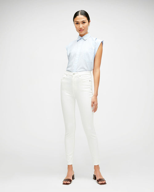 High Waist Ankle Skinny Slim Illusion  - White