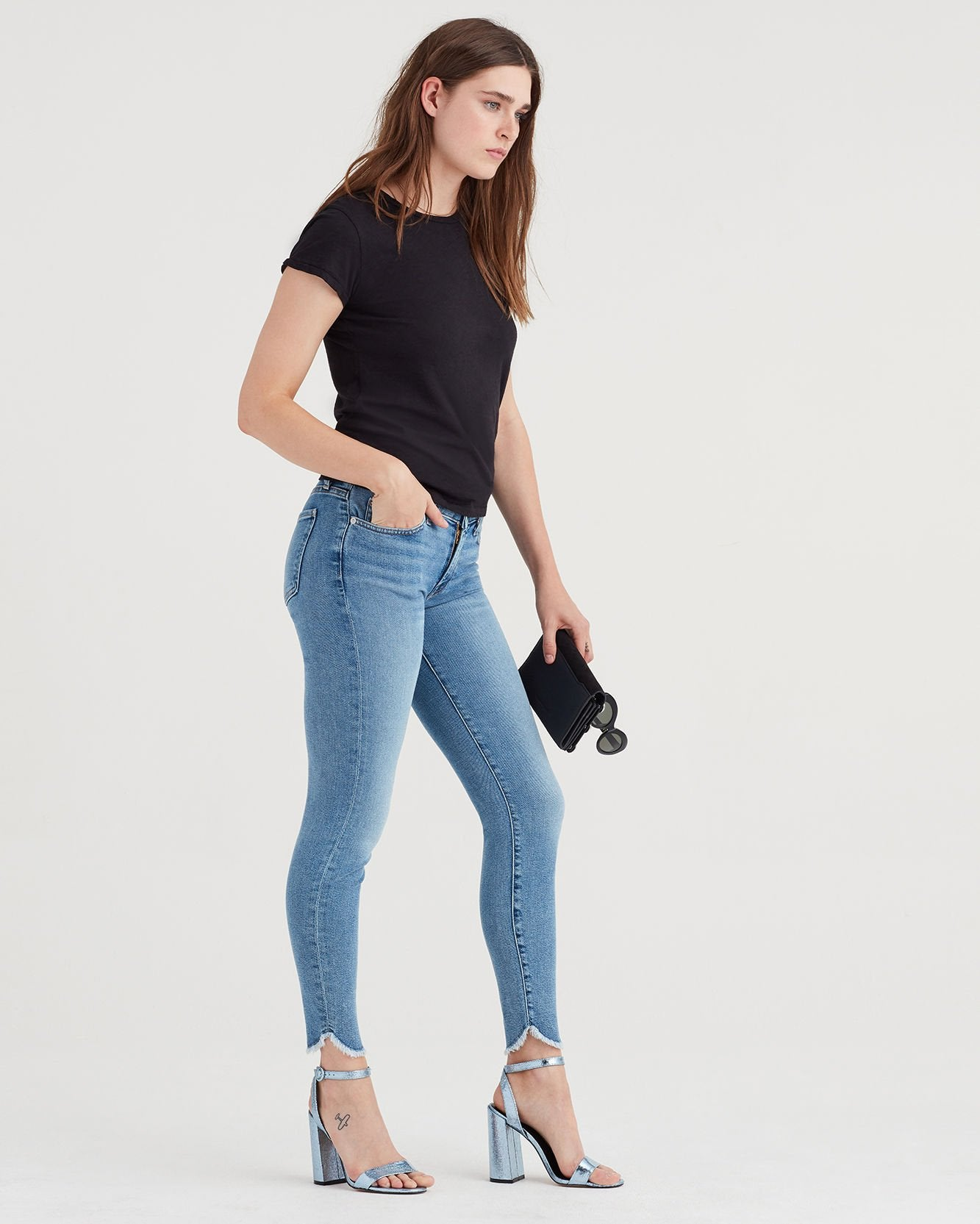 Luxe Vintage Ankle Skinny with Scallop Hem