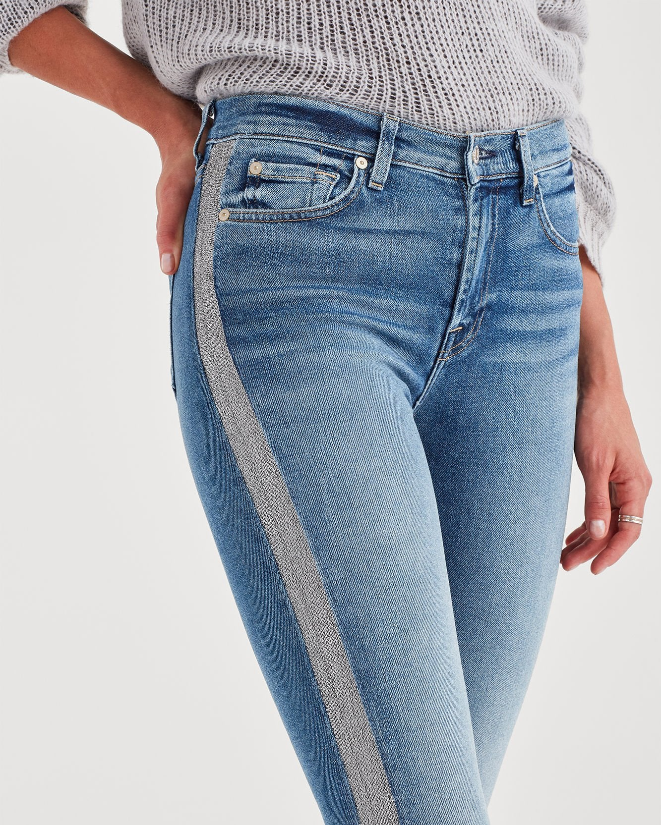 Luxe Vintage High Waisted Skinny with Silver Stripe