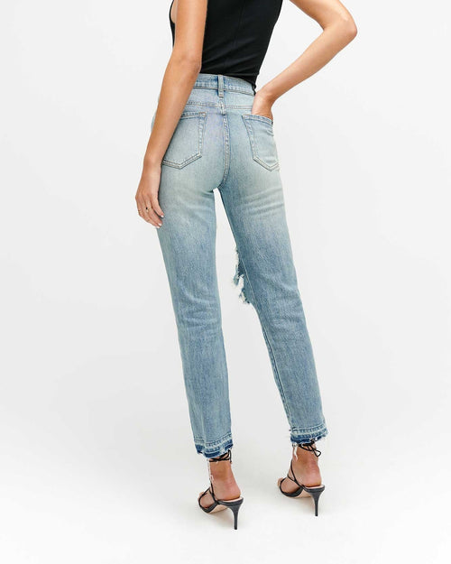 High Waist Cropped Straight with Destroy