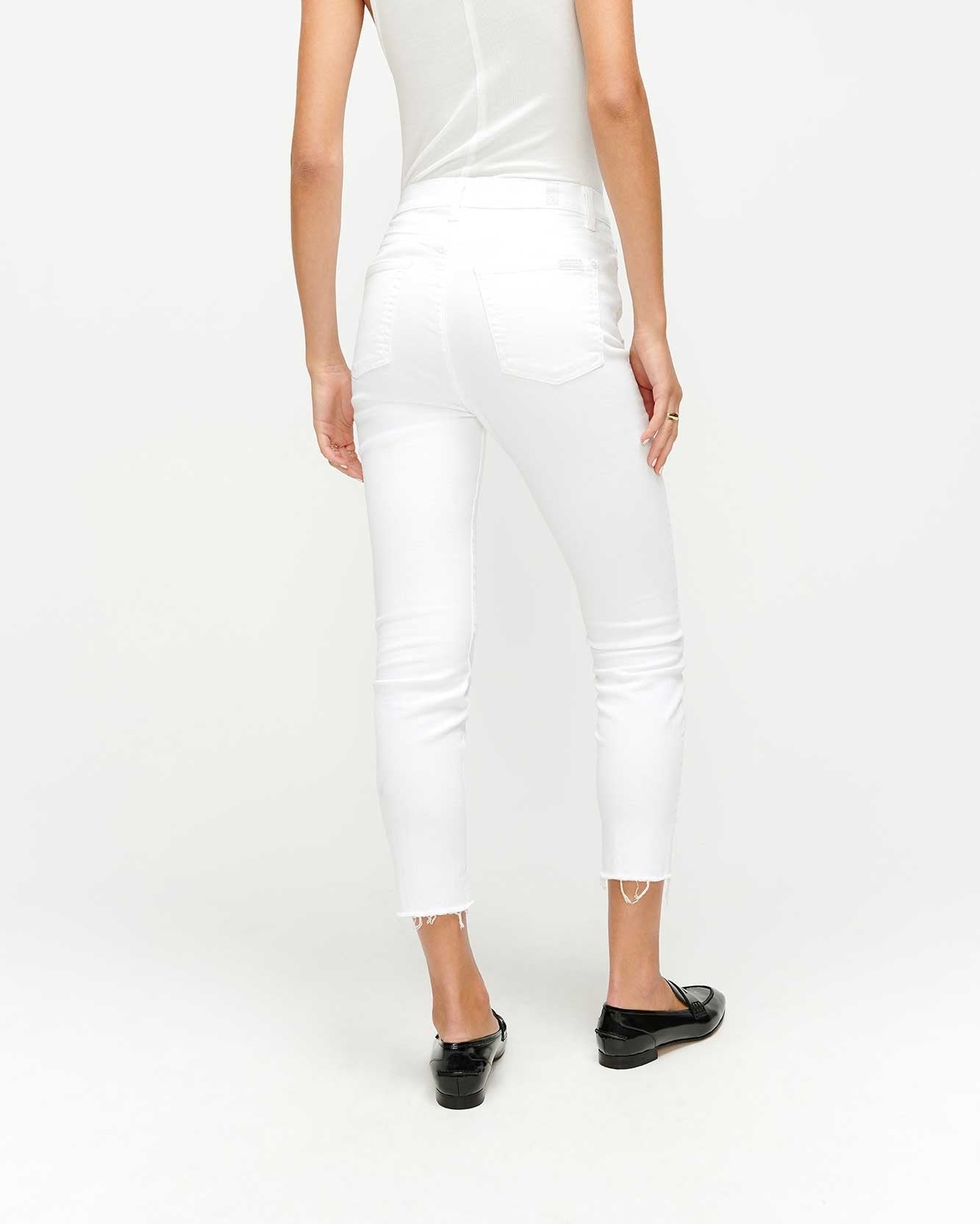 White Ankle Skinny with Wave Hem