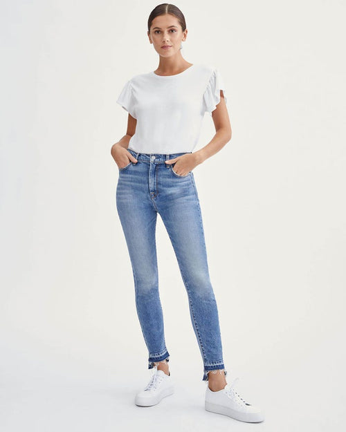 High Waist Ankle Skinny with Let Down Hem