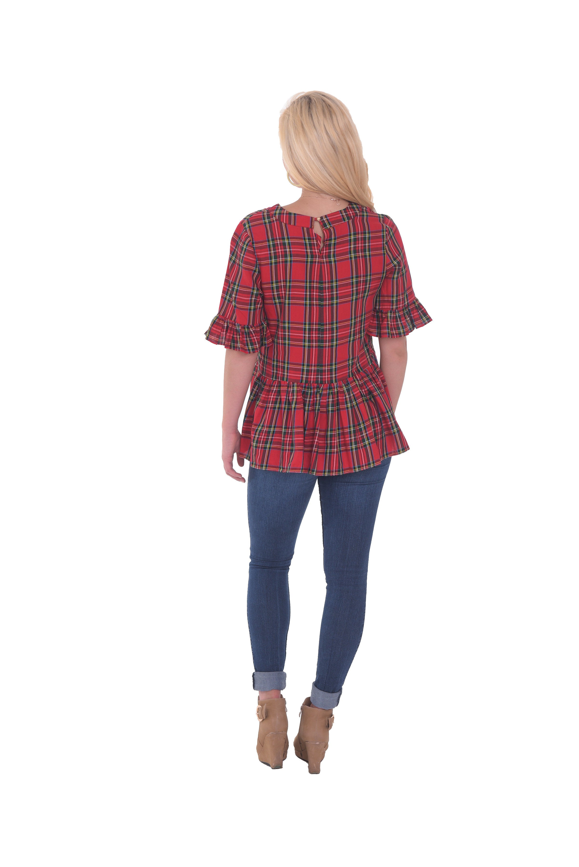 Betty B Top - Red Plaid