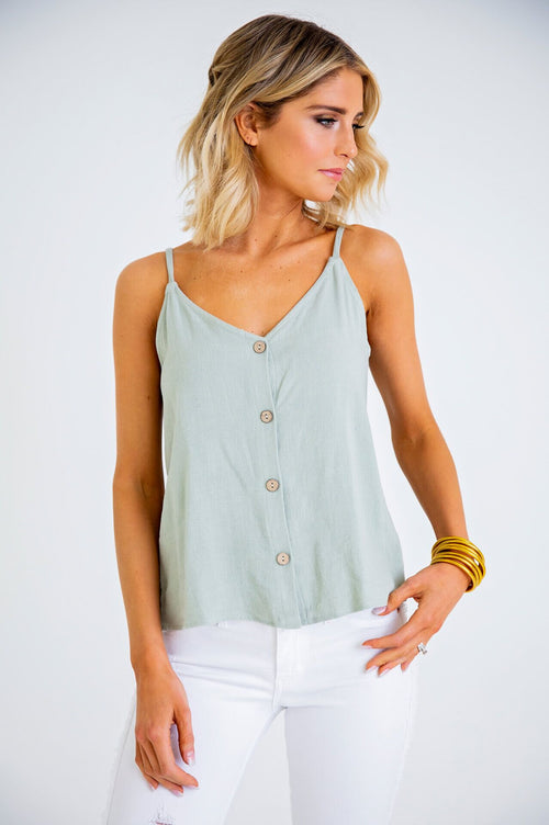 Solid Knit Button Cami Tank