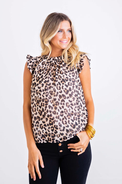 Sleeveless Lurex Leopard Top