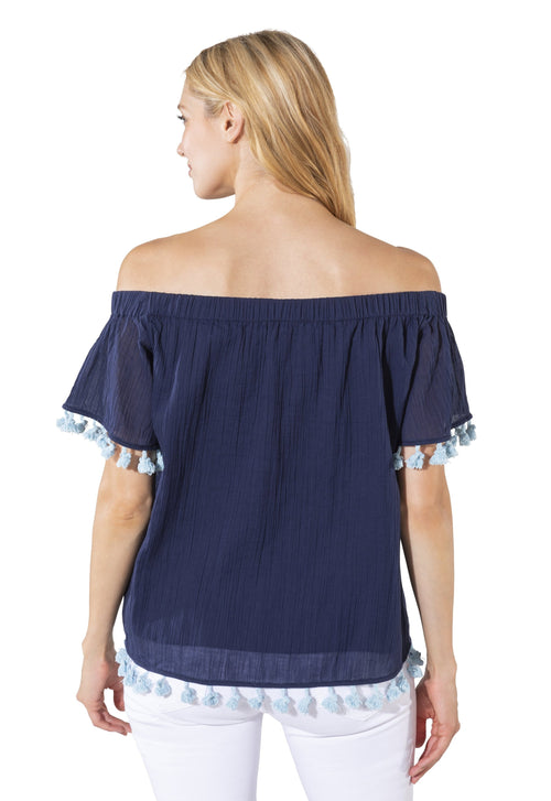 Crinkle Cotton Off-Shoulder