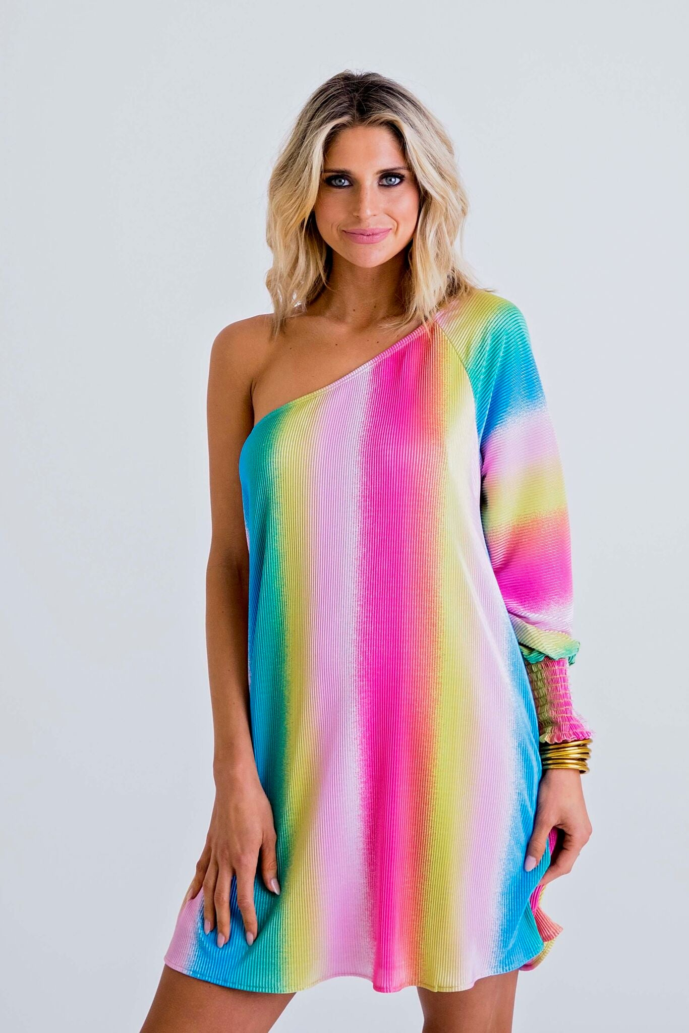 One Shoulder Rainbow Dress