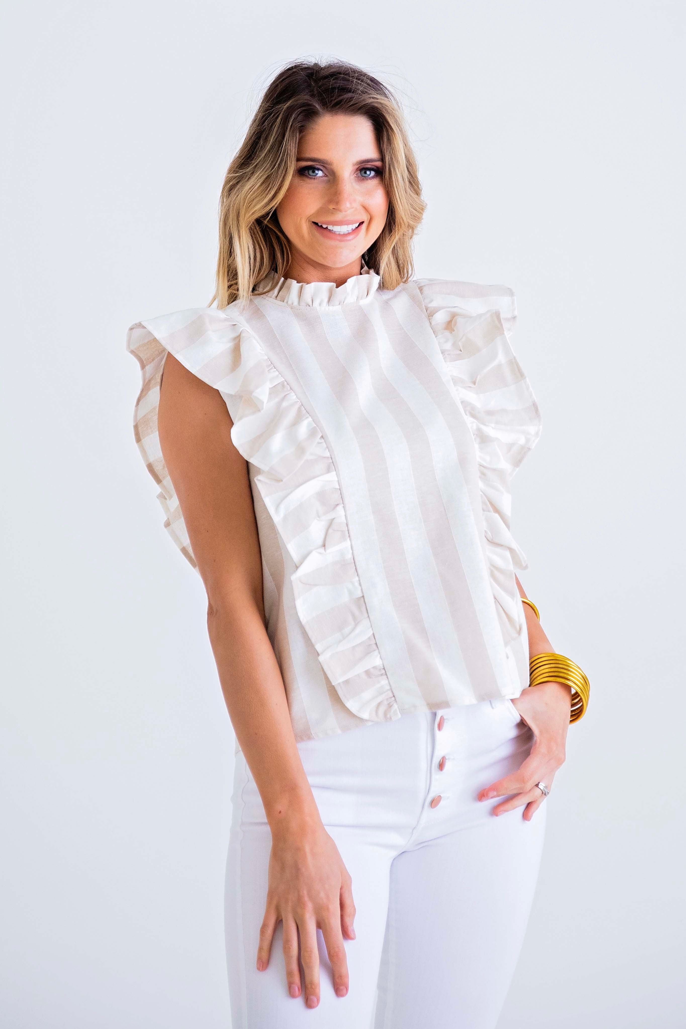Riviera High Neck Ruffle Top