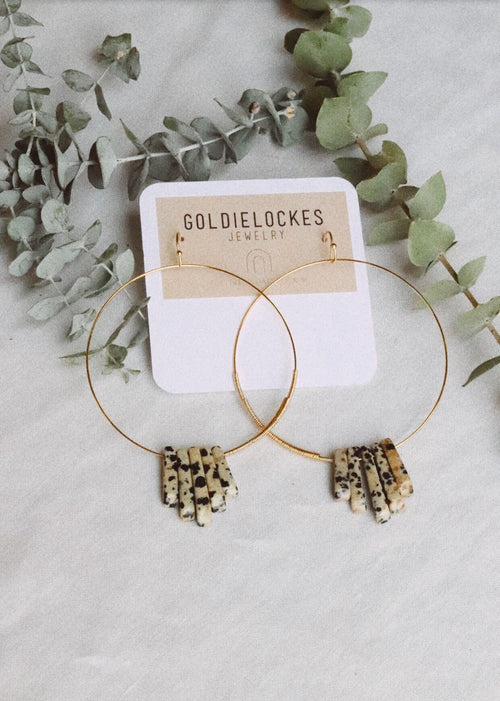 Gold Stone Hoops - Mist