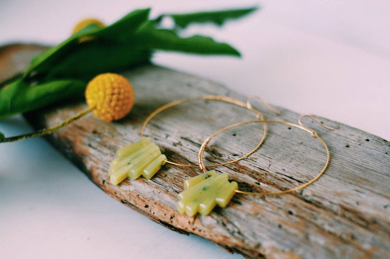 Gold Stone Hoops - Limon