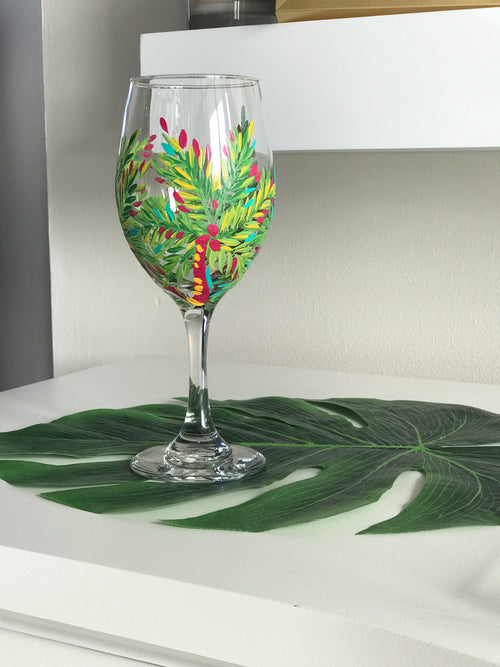 Palm Tree Wine Glass