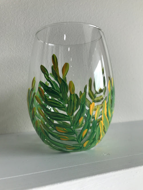 Stemless Wine Glass - Green Palm
